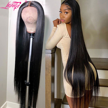Wig Human-Hair Lace-Front 36inch Straight Pre-Plucked Brazilian Lanqi 4x4 30 for Women