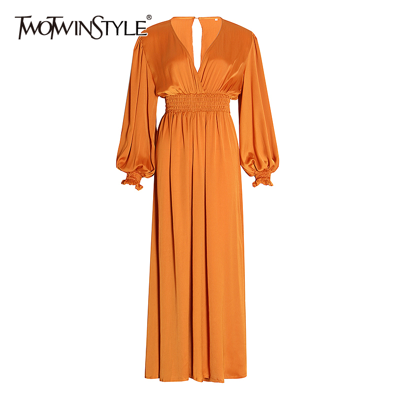 TWOTWINSTYLE Vintage Ruched Jumpsuits Female V Neck Lantern Long Sleeve Loose Wide Leg Sexy Jumpsuit Women Clothes 2020 Fashion