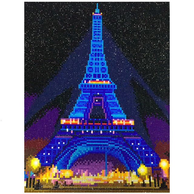 HUACAN LEDเพชรภาพวาด5D Eiffel Towerเพชรเย็บปักถักร้อยLED Lightรอบสว่านเพชรMosaic 30X40ซม.กรอบ