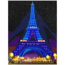 HUACAN LED יהלומי ציור 5D אייפל מגדל יהלום רקמת LED אור מלא עגול תרגיל יהלומי פסיפס 30x40cm עם מסגרת