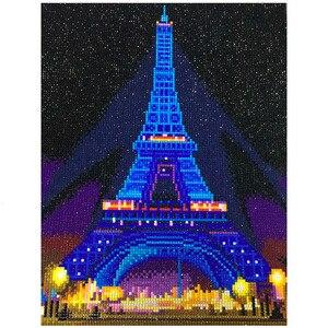 Image 1 - HUACAN LED יהלומי ציור 5D אייפל מגדל יהלום רקמת LED אור מלא עגול תרגיל יהלומי פסיפס 30x40cm עם מסגרת
