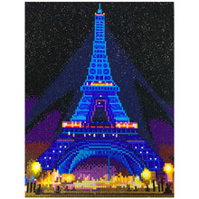 HUACAN LED Diamond Painting 5D Eiffel Tower Diamond Embroidery LED Light Full Round Drill Diamond  Mosaic 30x40cm With Frame