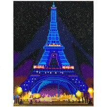 HUACAN LED diamentowe malowanie 5D wieża eiffla diamentowe hafty LED światło w pełni z okrągłych wiertła diamentowe mozaiki 30x40cm z ramą