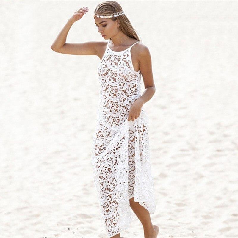 Mode belle été femmes décontracté blanc robe de plage col rond ajouré Maxi robe Crochet dentelle Bikini couverture-Ups robe fronde
