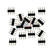 100 pçs 1000 frete grátis 4pin agulha 4pin rgb conector macho tipo duplo 4pin para 3528 5050 rgb led strip led acessórios