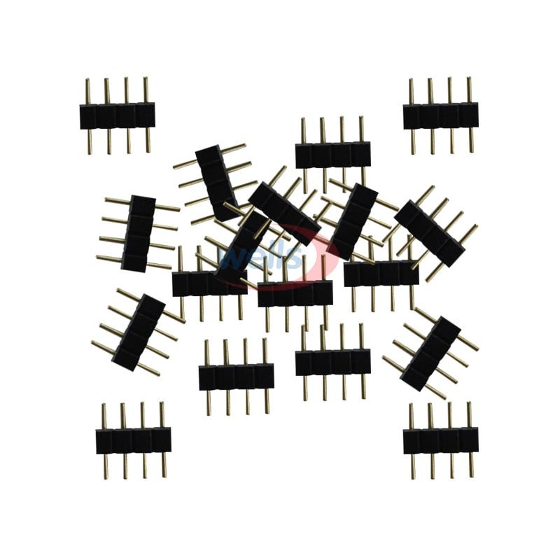 20 1000 3528 pçs frete grátis 4 pinos agulha 4pin rgb conector macho tipo duplo 4pin para 5050 rgb led strip led acessórios