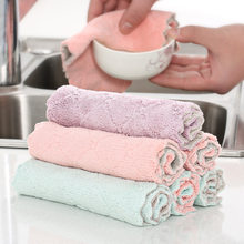 Kitchen Dish Washing Cleaning Cloth Microfiber Pan Pot Cleaner Scour Pad Super Absorbent Towel Home Cleaning Gadgets Tool(China)