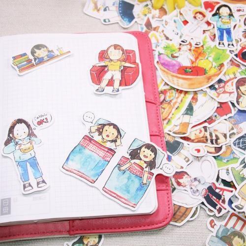 20set/1lot Paper Cartoon Girls Travel Diary Planner Decorative Mobile Stickers Scrapbooking Craft Stationery Stickers