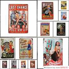 Almacén Retro Pin Up chicas Sexy señal Metal lata, decoración de la pared para Garage Man Cave Bar Metal pintura estaño signo decoración de pared(China)