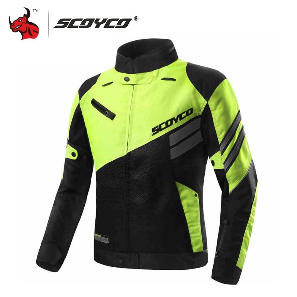 SCOYCO Motorcycle Jacket Summer Breathable Mesh Moto Jacket Protective Gear Motocross Off-Road Jacket Protective Clothing