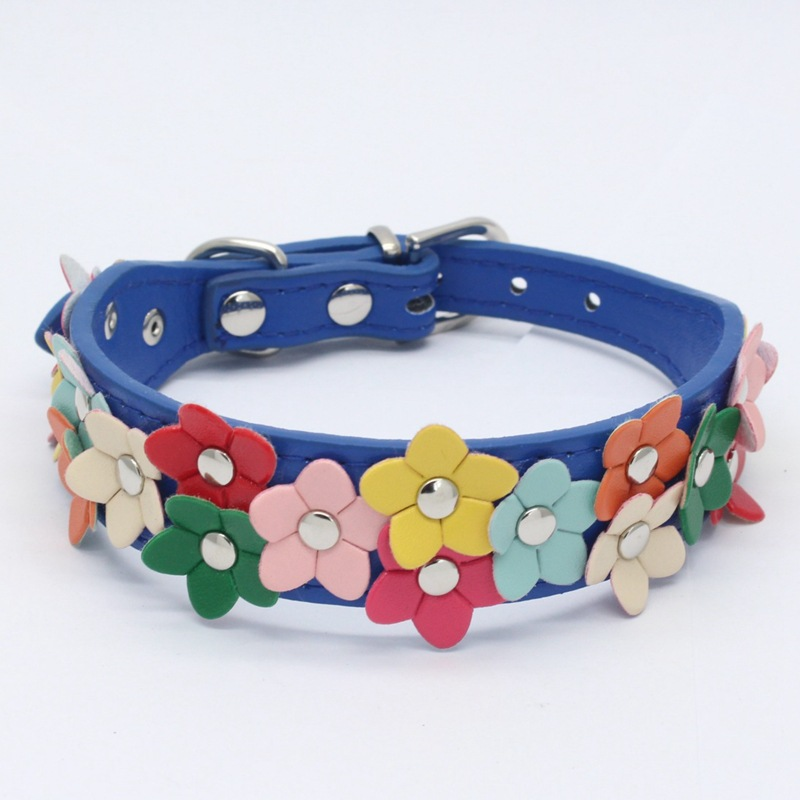 2018 New Style Fashion Colorful Flowers Dog Neck Ring Dog Supplies Colorful Flowers Genuine Leather PU Pet Collar