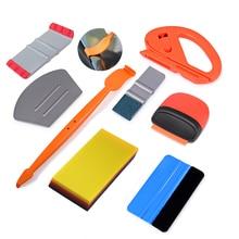 EHDIS envoltura de vinilo Set de herramientas para el coche tinte de ventanilla Auto accesorios etiqueta cúter de carbono de película de papel de escobilla de goma Kit rascador