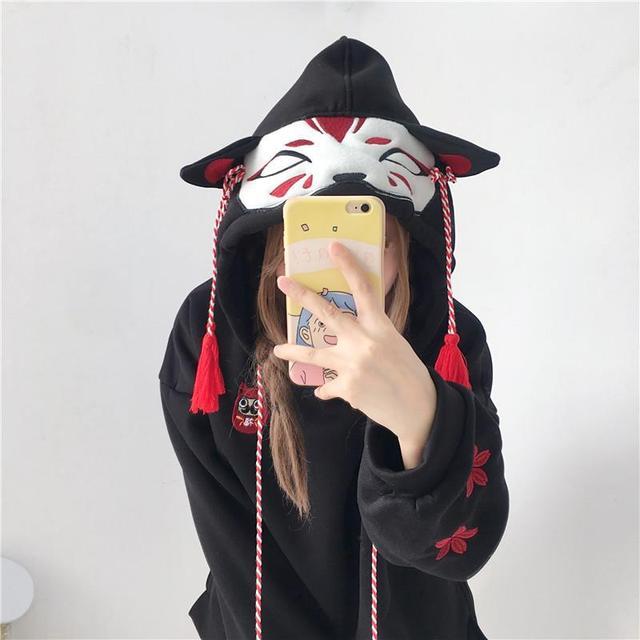 casual girl cute cat hoodies animal hoodies with ears and tail japanese embroidery hoodie oversized hoodie cute sweatshirt girls 1