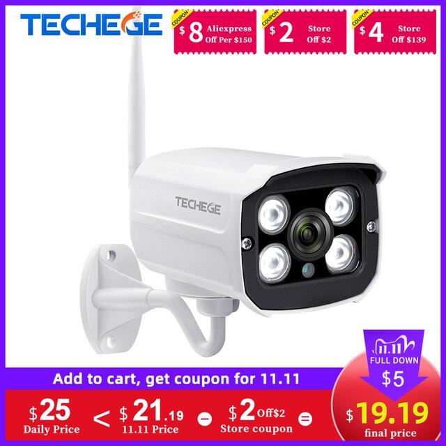 Techege hd 1080 720pワイヤレスipカメラcctvオーディオ2.0MP弾丸防犯カメラwifiナイトビジョン金属防水屋外カメラ