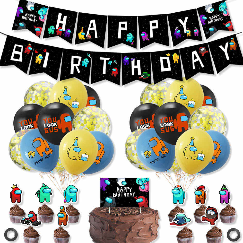 Among Us Birthday Party Dessert Set Among Us Party Supplies Among Us Birthday Party Banner and Tablecloth Cloth for Among Us Party Decoration Kids Bithday Party
