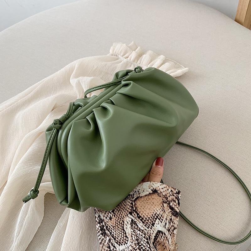 Casual Clip Hobos Women Clutch Bag Designer Brand Cloud Shape Lady Crossbody Shoulder Bags Luxury Pu Drawsting Small Purses