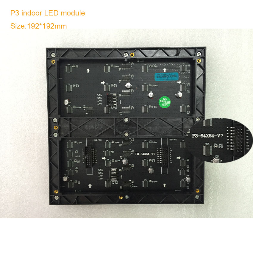64*64dots SMD2121 p3 indoor 192*192mm 1/32 scan RGB full color led display module rgb led matrix led signboard panel Shenzhen