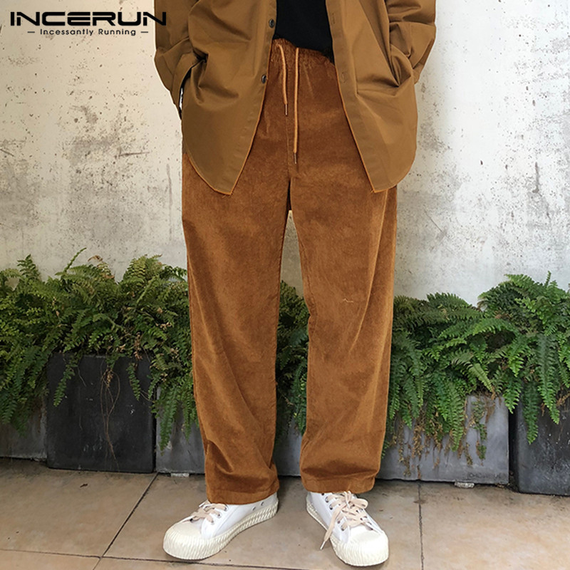 INCERUN Mens Corduroy Straight Pants Drawstring Casual Streetwear Winter Joggers Trousers Men Retro Solid Color Pants S-5XL 2020