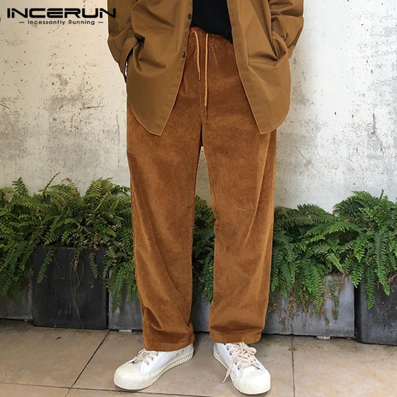 INCERUN Mens Corduroy Straight Pants Drawstring Casual Streetwear Winter Joggers Trousers Men Retro Solid Color Pants S-5XL 2020