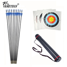 Archery Fiberglass Arrows OD 6mm Blue Rubber Vanes with Target Paper Nail and Telescopic Arrow Quiver For Recurve Bow