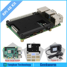 Aluminum-Alloy Embedded Raspberry Pi Power-Adapter-Charger 8GB 4-Model Heatsink Type-C