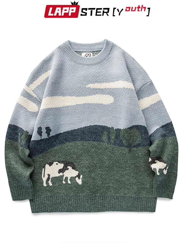 Pullover Sweaters Cows Harajuku Lappster-Youth Vintage Korean Men Winter Casual Fashions