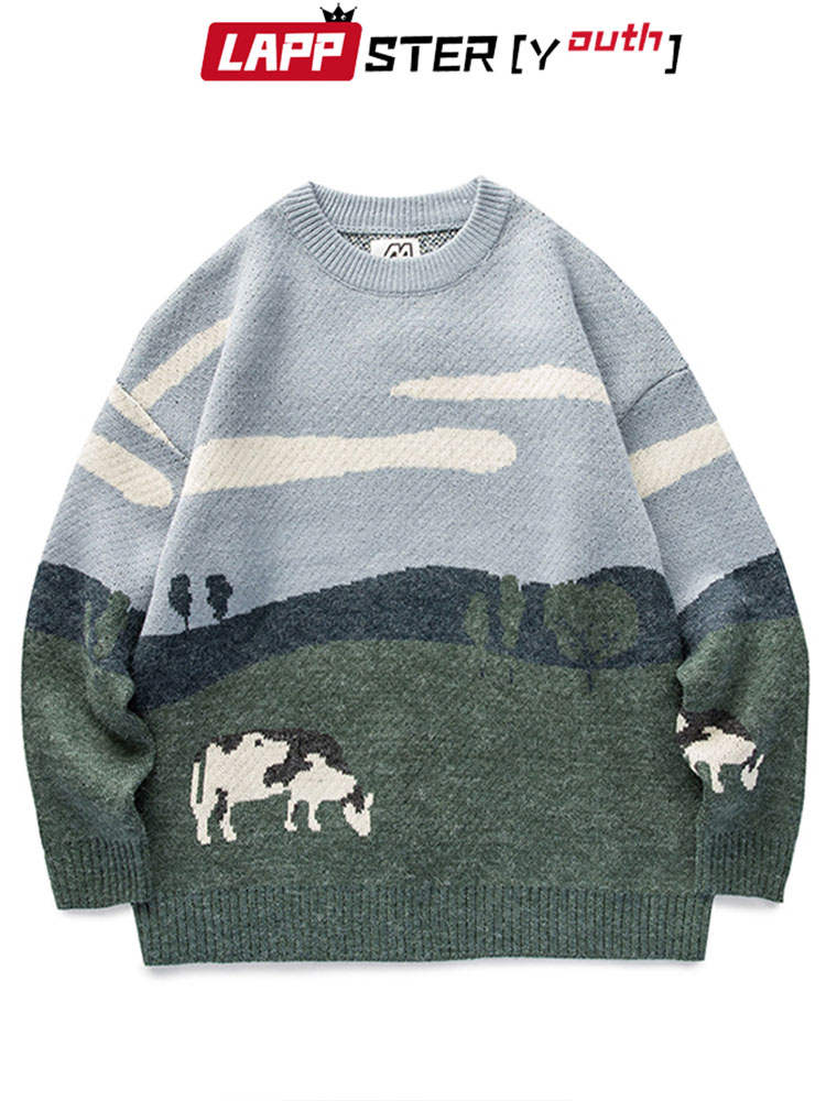 Pullover Sweaters Harajuku Clothes O-Neck Lappster-Youth Vintage Korean Winter Casual