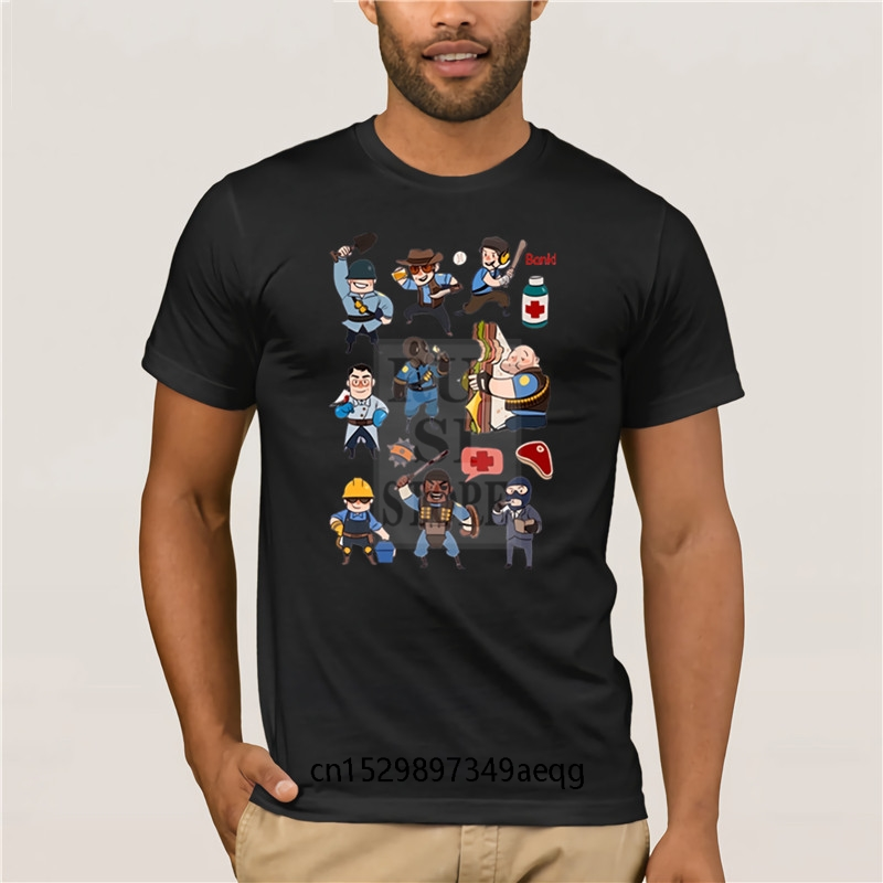 Men's Cool Short Sleeve T <font><b>Shirt</b></font> <font><b>Team</b></font> <font><b>Fortress</b></font> <font><b>2</b></font> All Class T <font><b>Shirt</b></font> Men s Summer O Neck Short Sleeve Cotton image