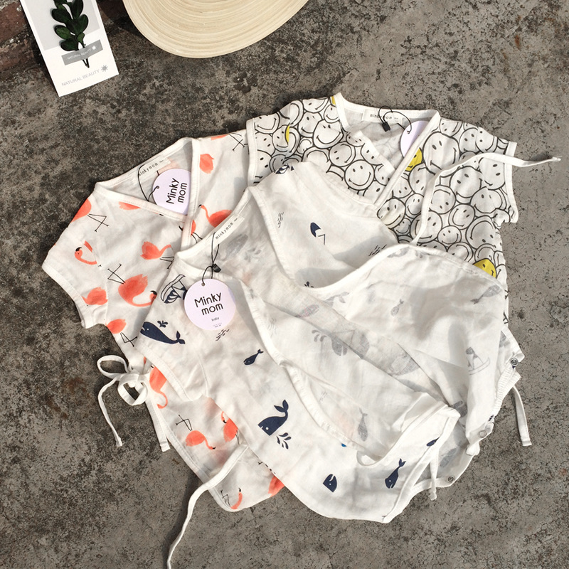EnkeliBB 2020 Korean Baby Summer Romper 100% Cotton 3 Month Baby Girl Boy Cotton White Onesie Loose Baby Korean Pajama Flamingo