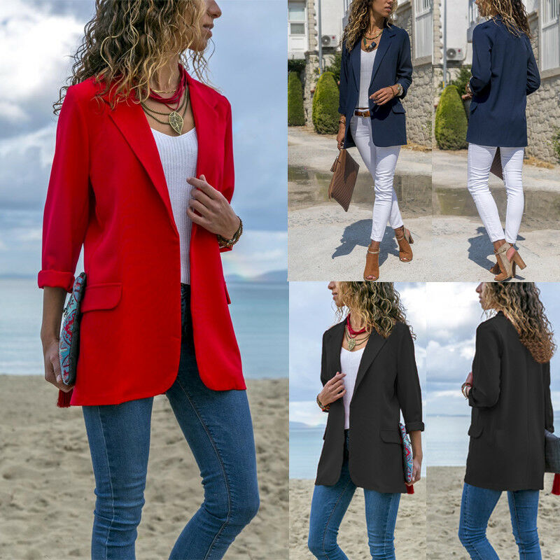 Stylish Office Lady Slim Business Blazer Coat Jacket Work Wear Comfortable Suit Outwear Solid Outfit 2019 Autumn