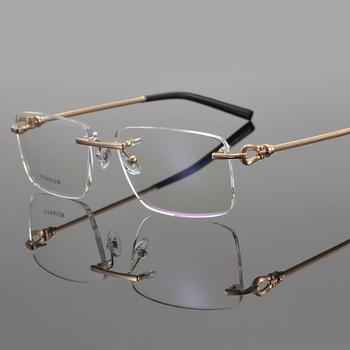 2020 tytanowa ramka do okularów mężczyźni okulary krótkowzroczność oprawki do okularów gogle marki komputerowe ramki okularów korekcyjnych dla mężczyzn tanie i dobre opinie TAGHezekiah Tytanu GEOMETRIC T0021 FRAMES Okulary akcesoria