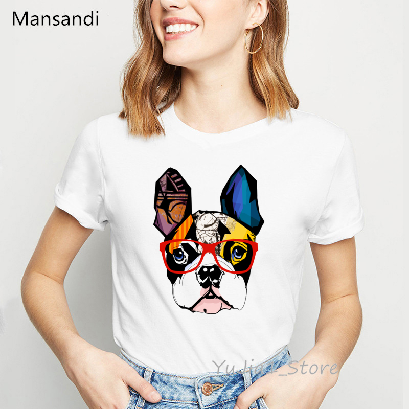 Colorful French Bulldog Animal Printed T-shirt Women Summer Fashion Vogue T Shirt Femme Harajuku Kawaii Clothes White Tshirt