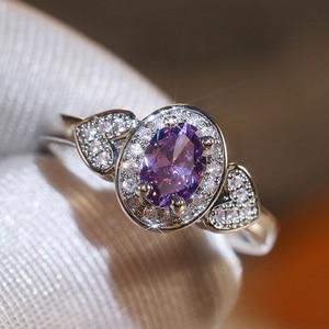 Huitan Trendy Women Wedding Jewelry Charming Purple Oval Heart Crystal Zircon Stone Luxury Engagement Party Finger Ring New Gift