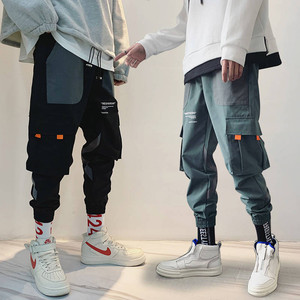 2019 накладные карманы шаровары мужские беговые брюки в повседневном стиле широкие в стиле милитари брюки Harajuku Уличная Хип Хоп мода ультрамо...