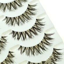 5 Pairs LEKGAVD Handmade 3D False Eyelashes Natural Cross Fake Eye Lashes Black Long Thick Women Makeup Wholesale