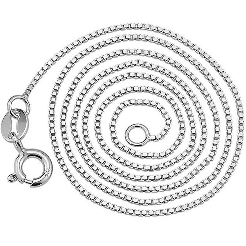 Einfache Kette Halskette 925 Silber Schmuck 18 zoll Breite 0,8 MM Frauen Halsketten Hohe Qualität Collares Mujer