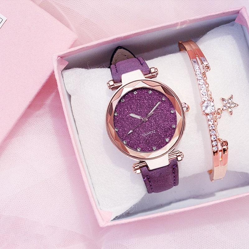 Rose Gold Women Watch Bracelet Set Fashion Starry Sky Wrist Watch For Ladies Leather Strap Clock Simple Dress Hour  Montre Femme