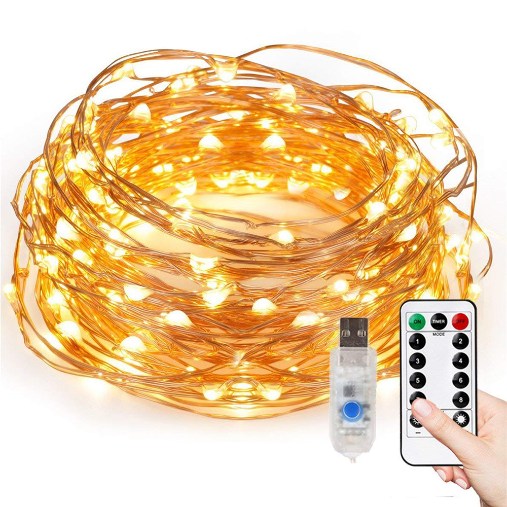 8 Mode Remote Control Dimmable 10m 100 Leds Copper Wire USB Led String Lights Holiday Lighting For House Decorate