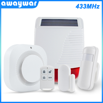 цена на Awaywar 433MHz Wireless Security Burglar Alarm System solar siren kit PIR Motion/Door Sensor Fire Smoke Detector for Smart Home