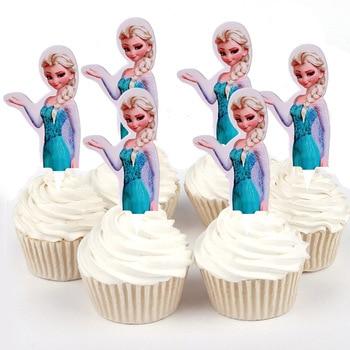 50 Uds congelada Princesa Ana Elsa Sophia Winnie el pooh de papel Cupcake topper para la decoración de la torta de cumpleaños proveedores de fiesta de bodas