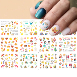 12 style Fall Designs Fallen leaves Nail Art Water Decals Set squirrel/Hedgehog/owl animal Pattern Water Slider Decoration NEW