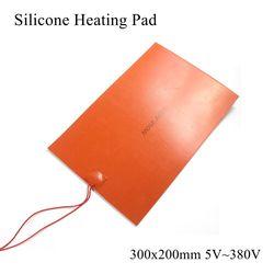 300x200mm 5V 12V 24V 36V 48V 110V 220V 380V silikonowa podkładka grzewcza gumowa mata grzewcza podgrzewane łóżko płyta elastyczna wodoodporna drukarka 3D w Elektryczne poduszki grzewcze od Dom i ogród na