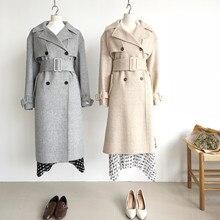 Shuchan Women Wool Coat Adjustable Waist Turn-down Collar Patchwork Plaid  Double Breasted  Long  Woman Coats Winter 2019 цена в Москве и Питере