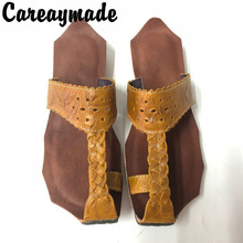 Careaymade-2020 New Genuine Leather pure handmade Art retro Slipper ,the retro art mori girl shoes,Women's Slipper,4 colors