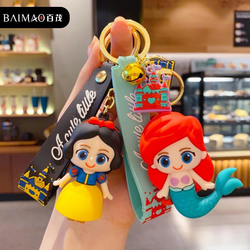 Disney Keychain Princess Mermaid Elsa Snow White Rapunzel Belle Cute Cartoon Figure Doll for Girls Bag Charms Pendant Keyrings