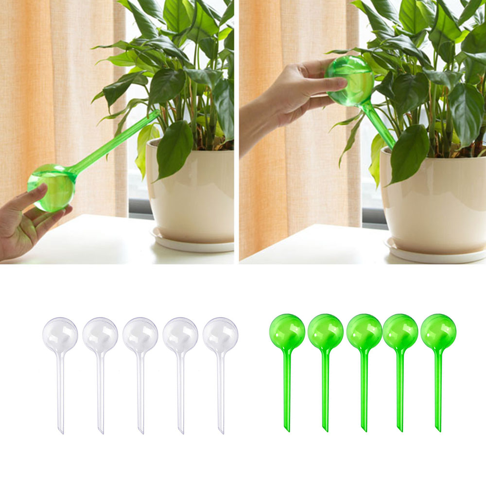 5pcs Automatic Plant Self Watering Water Feeder Plastic PVC Ball Plant Flowers Water Feeder Indoor Outdoor Watering Cans