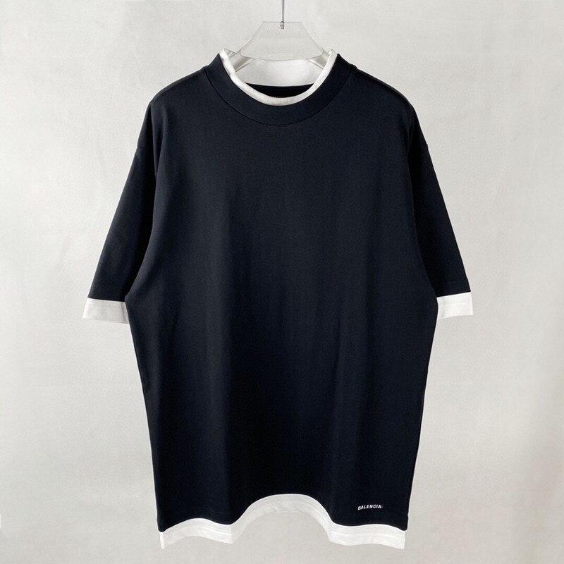 Primavera e estate 2021 nuova T-Shirt a maniche corte da uomo e da donna a due girocollo finta in bianco e nero