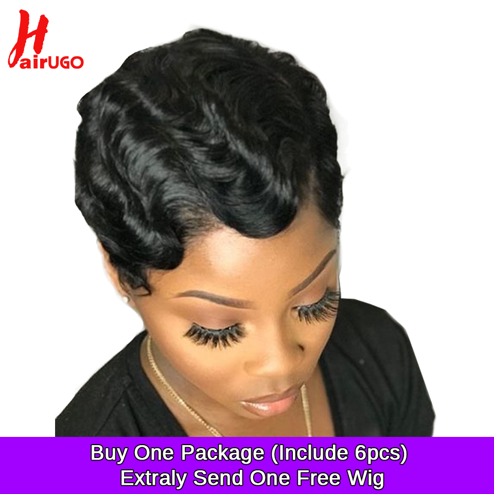 HairUGo Short Lace Human Hair Wigs For Women Brazilian Ocean Wave Non Remy Human Hair No Smell Lace Front Wigs For Black Women