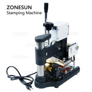 Image 3 - ZONESUN máquina de estampación en caliente de 220V/110V, cortadora de tarjetas para cuero, tarjeta de PVC + 2 gratis FO