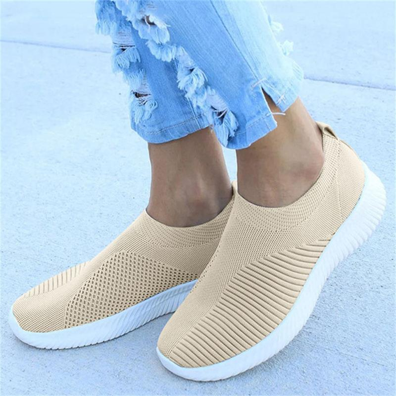 New Plus Size Women Sneakers Stretch Fabric Socks Shoes Ladies Fashion Vulcanize Shoes Slip On Flat Footwear Female Casual Shoes